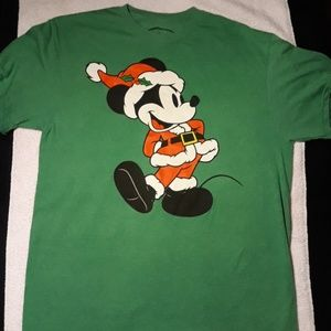 Disney Mickey Mouse Santa Christmas T-Shirt Large
